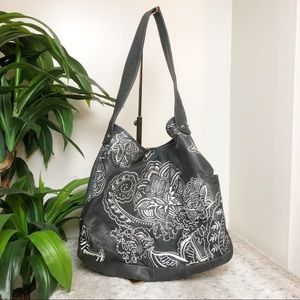 ISABELLA FIORE Gray Embroidered Boho Leather Bag